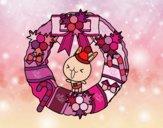 Desenho Guirlanda de Natal e coelhito pintado por Natani