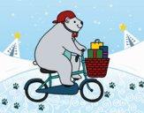 Desenho Urso ciclista pintado por Flori