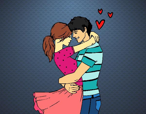 desenho de casal apaixonado pintado e colorido por keithy o dia 25