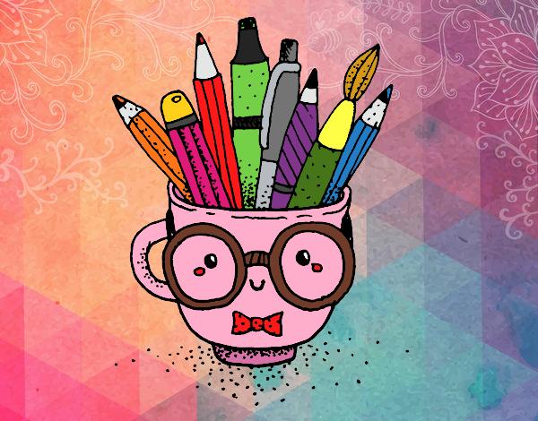 Desenho Copo animado com lápis pintado por NdPraFazer