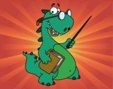 Desenho Dinossauro professor pintado por NdPraFazer