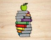 Desenho Livros e maçã pintado por NdPraFazer