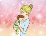 Desenho Mãe levando o bebê pintado por ThaySilvaa