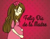 Desenho Mamã grávida no Dia da Mãe pintado por ThaySilvaa
