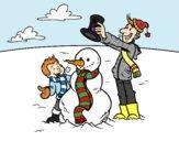 Desenho Pai e filho na neve pintado por ThaySilvaa