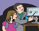 Desenho Pai ensina a filha pintado por Keithy