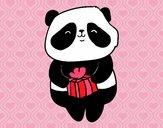 Desenho Panda com presente pintado por Keithy