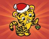 Desenho Tigre de Natal pintado por ThaySilvaa