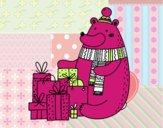 Urso ter presentes de Natal