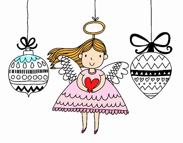 Desenho De Anjo E Enfeites De Natal Pintado E Colorido Por Usuário