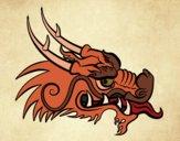 Desenho Cabeça de dragão vermelha pintado por Craudia