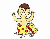 Criança que joga com uma caixa de presente