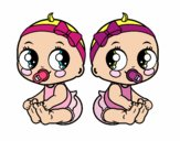 Desenho Gêmeos fêmea pintado por DudaMatos