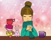 Desenho Menina com lenço e xícara de chá pintado por     Bela12