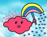 Desenho Nuvem com arco-íris pintado por mcastrode