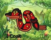Desenho Os dias astecas: serpente Coatl pintado por Craudia