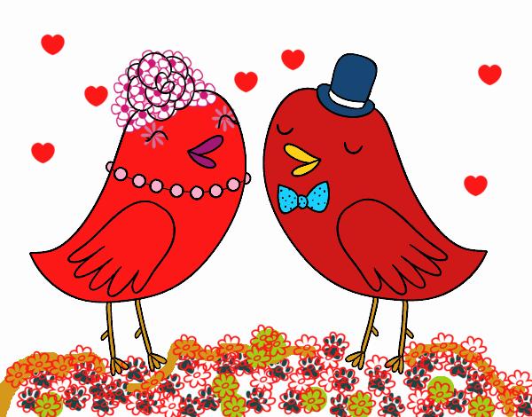 Desenho Pássaros de casamento pintado por mcastrode