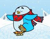 Pinguim de patinagem no gelo
