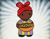 Desenho Rapariga africana pintado por ThaySilvaa