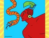 Desenho Serpente e guerreiro pintado por mcastrode