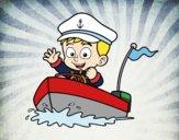 Desenho Barco e capitão pintado por ThaySilvaa