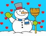 boneco de neve com vassoura