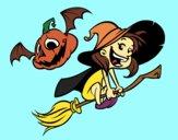 Bruxa e abóbora do Dia das bruxas
