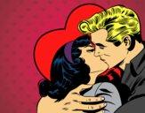 Casal a beijarem-se