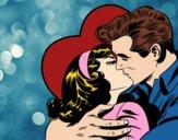 Desenho Casal a beijarem-se pintado por DValero