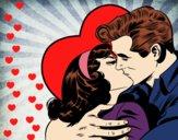 Desenho Casal a beijarem-se pintado por Natani