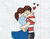 Desenho Casal apaixonado pintado por Natani