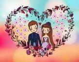 Desenho Casamento coração pintado por Natani