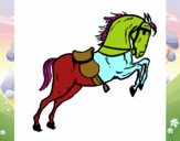 Cavalo com sela a saltar