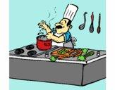 Cozinheiro na cozinha