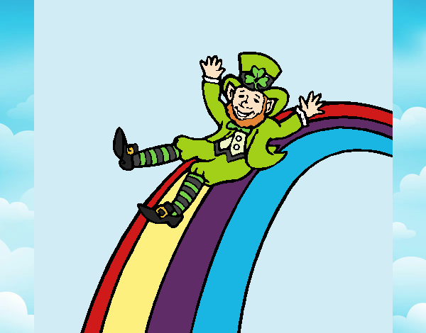 desenho de duende no arco íris pintado e colorido por thaysilvaa o