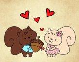 Desenho Esquilos apaixonadas pintado por Sillvana