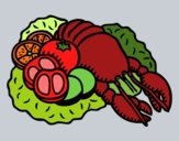 Lagosta com legumes