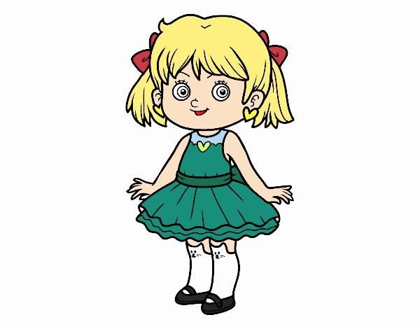 Menina com vestido moderno