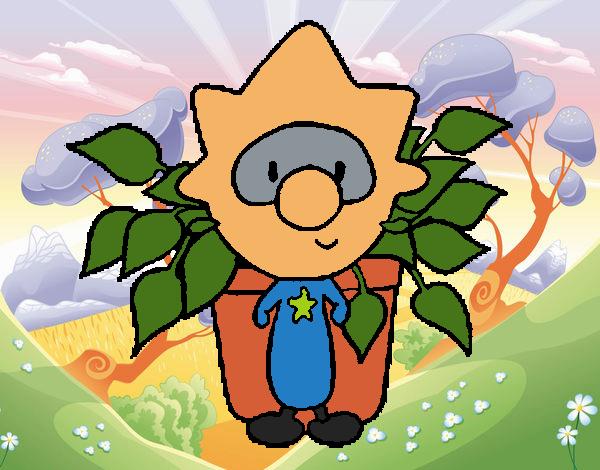 Menino com uma planta
