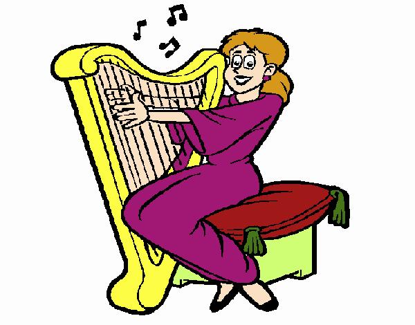 Mulher a tocar harpa