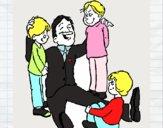 Papá com os seus 3 filhos