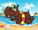 Desenho Hipopótamo natação pintado por Craudia