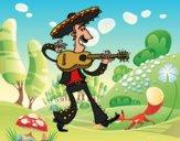 Desenho Mariachi com guitarra pintado por Craudia