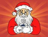 Papai Noel com xícara de café