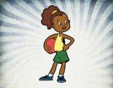Desenho Uma jogadora de basquete pintado por Craudia