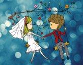 Desenho  Casado em um balanço pintado por davidlessi