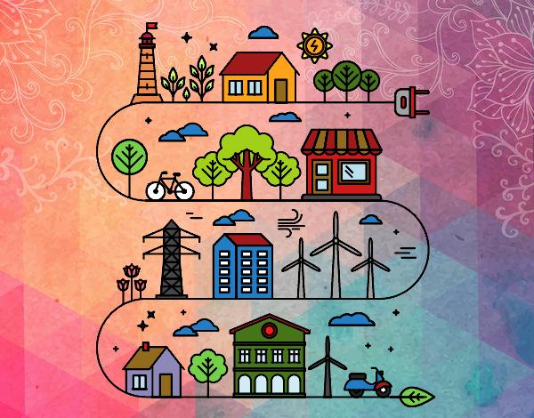 Desenho Cidade ecológica pintado por davidlessi