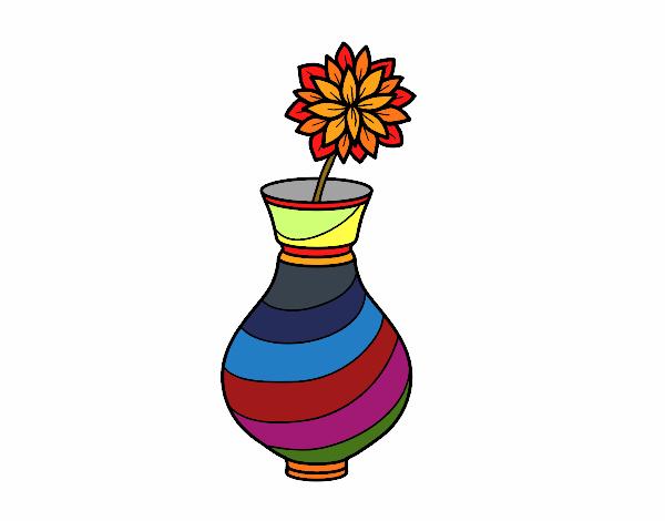 Desenho Crisântemo em um vaso pintado por davidlessi