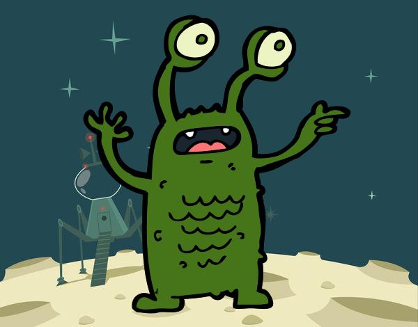 Extraterrestre com os olhos esbugalhados