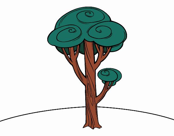 desenho de pinheiro pintado e colorido por usuário não registrado o